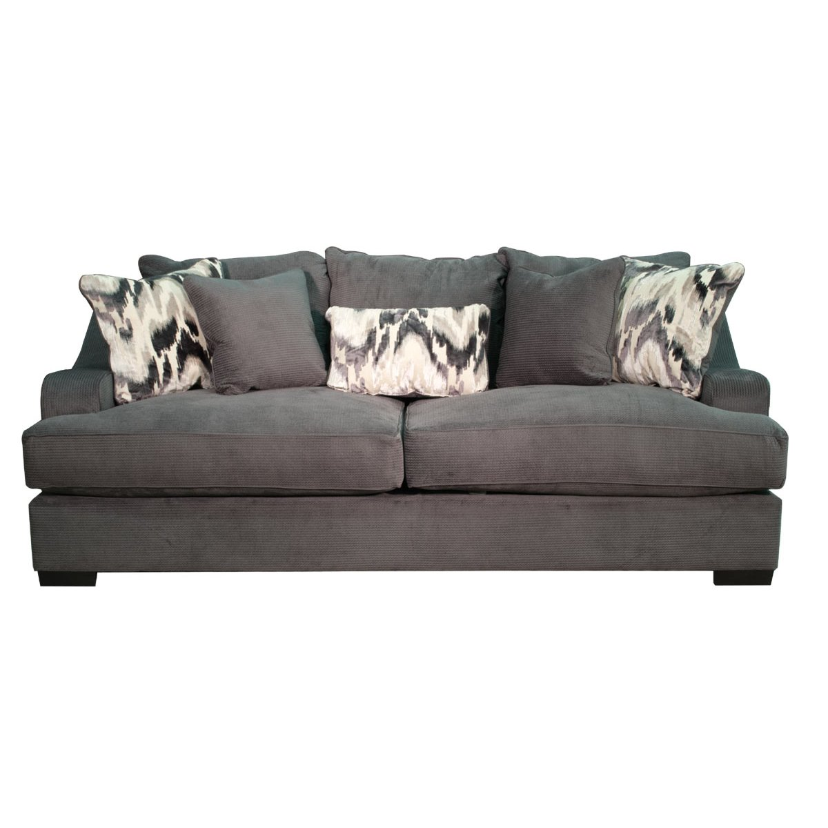 Spartan charcoal upholstered casual modern sofa for Casual couch