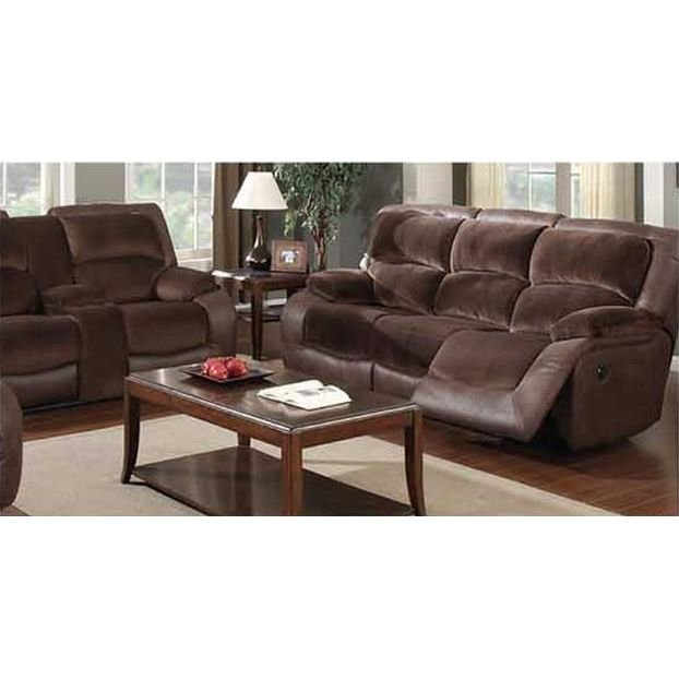 Brown Upholstered Power Reclining Sofa Glider Loveseat Rcwilley Image1