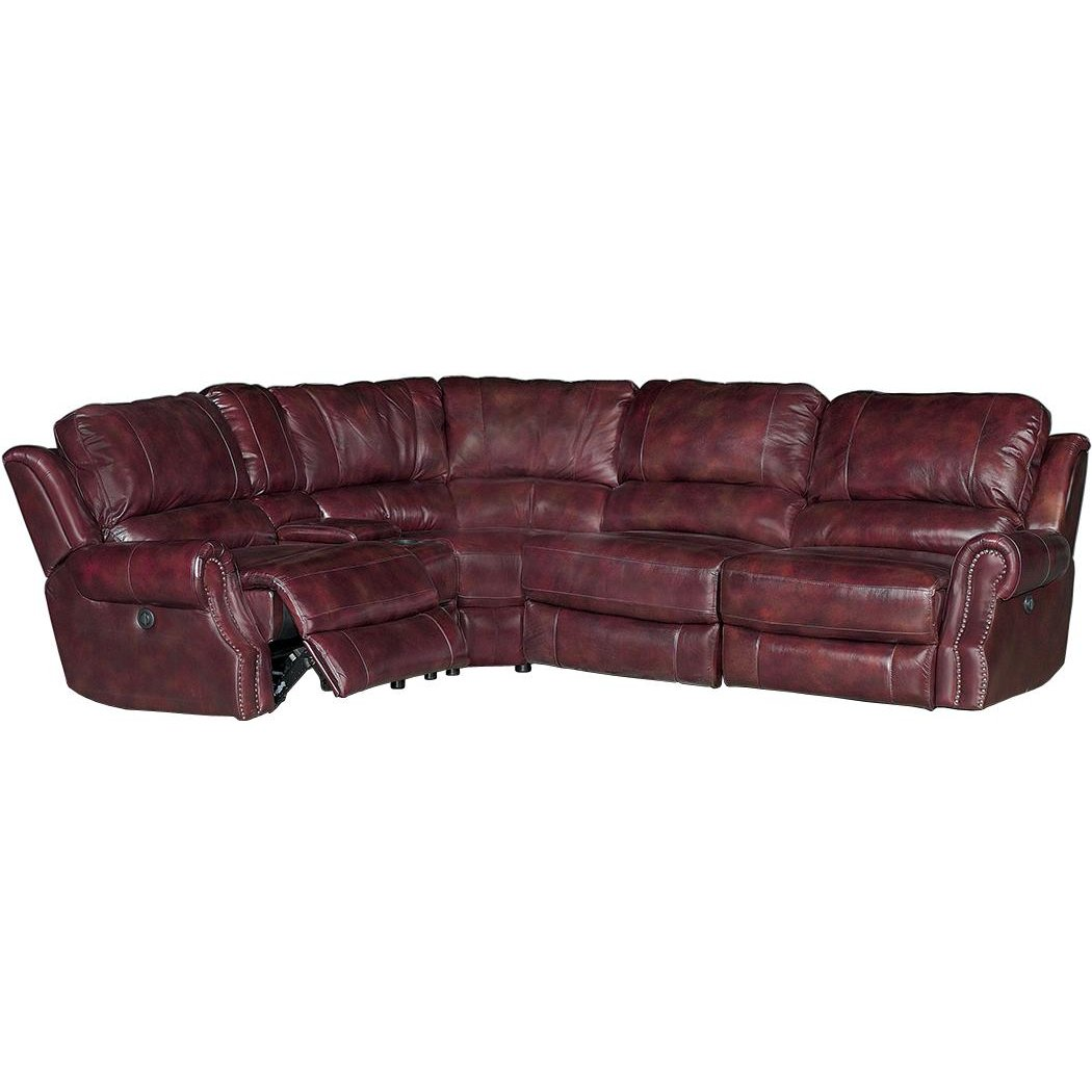 Madison Burgundy Leather Match 5pc 3x Reclining Sectional