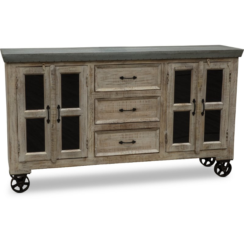 Beau Natural Wood And Galvanized Metal Cabinet