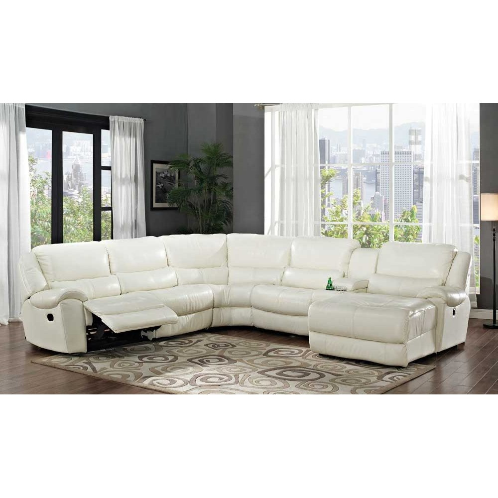 White Leather Sofa Rooms To Go: Hamilton White Leather-Match 6-Piece Reclining Sectional