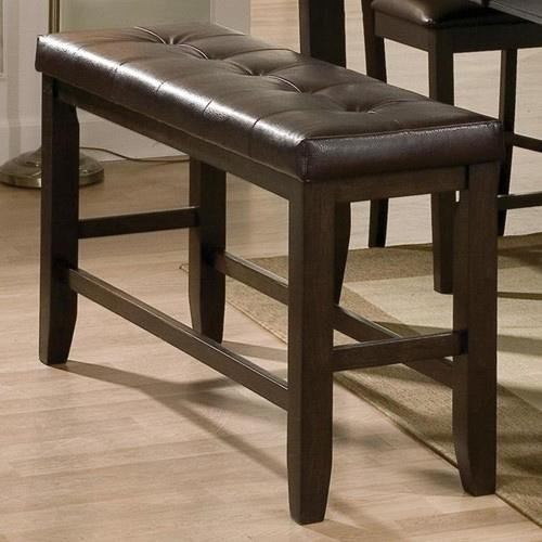 Brown Upholstered Counter Height Dining Bench Elliott Collection
