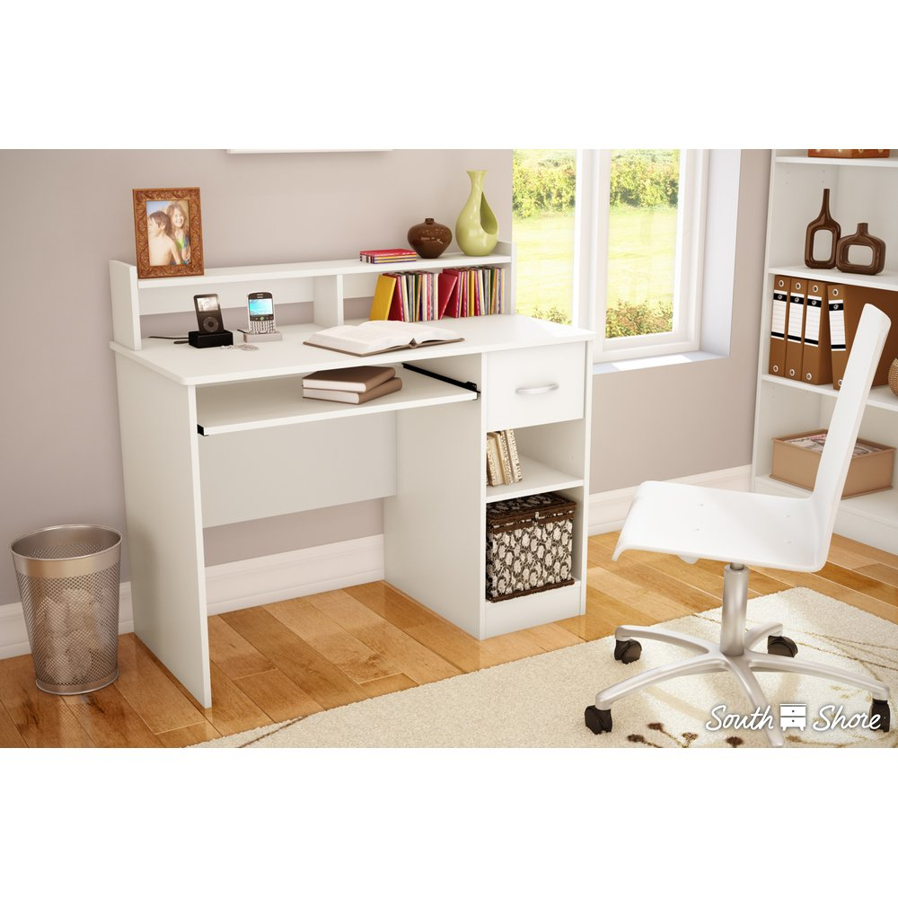 Pure White Small Desk With Keyboard Tray Axess Rc Willey