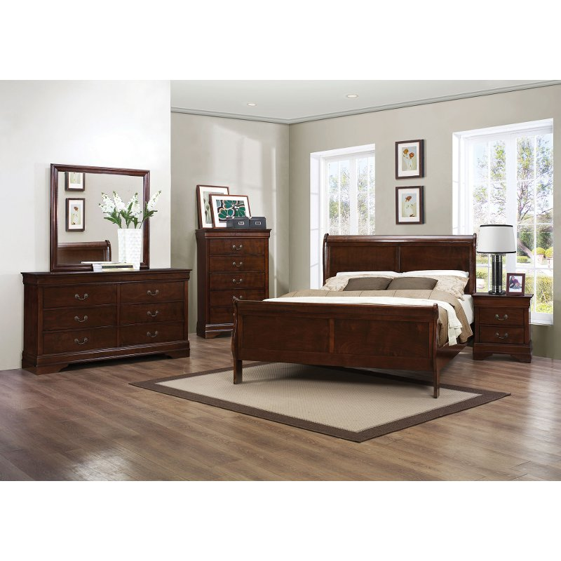 Mayville brown cherry traditional 6 piece queen bedroom set - Traditional bedroom furniture sets ...