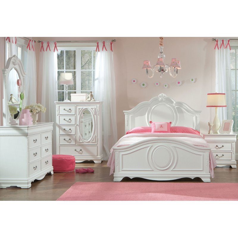 White Traditional 6 Piece Twin Bedroom Set - Jessica