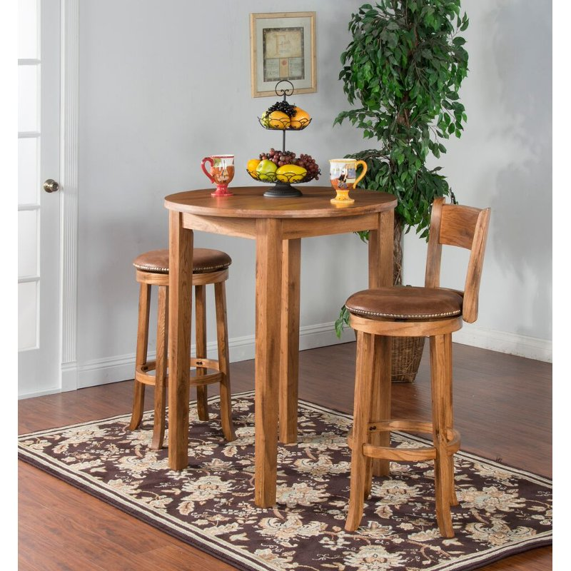 36 Inch Dining Room Table: Rustic Oak Round Pub Table (36 Inch) - Sedona