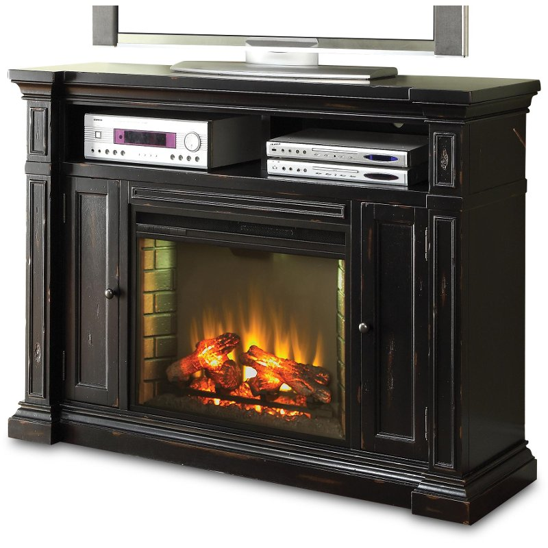 Rc Willey Tv Deals: Rustic Black Fireplace And TV Stand- Manchester