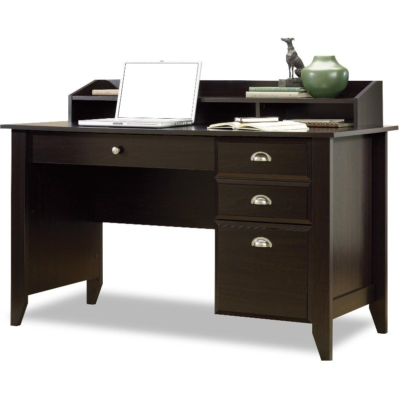 Shoal Creek Dark Brown Wood Desk Black Chair Rc Willey Furniture