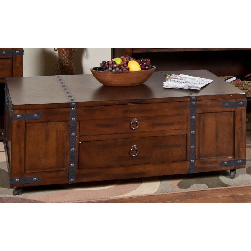 Rustic Lift Top Wood Coffee Table On Wheels Santa Fe Rc Willey Furniture Store