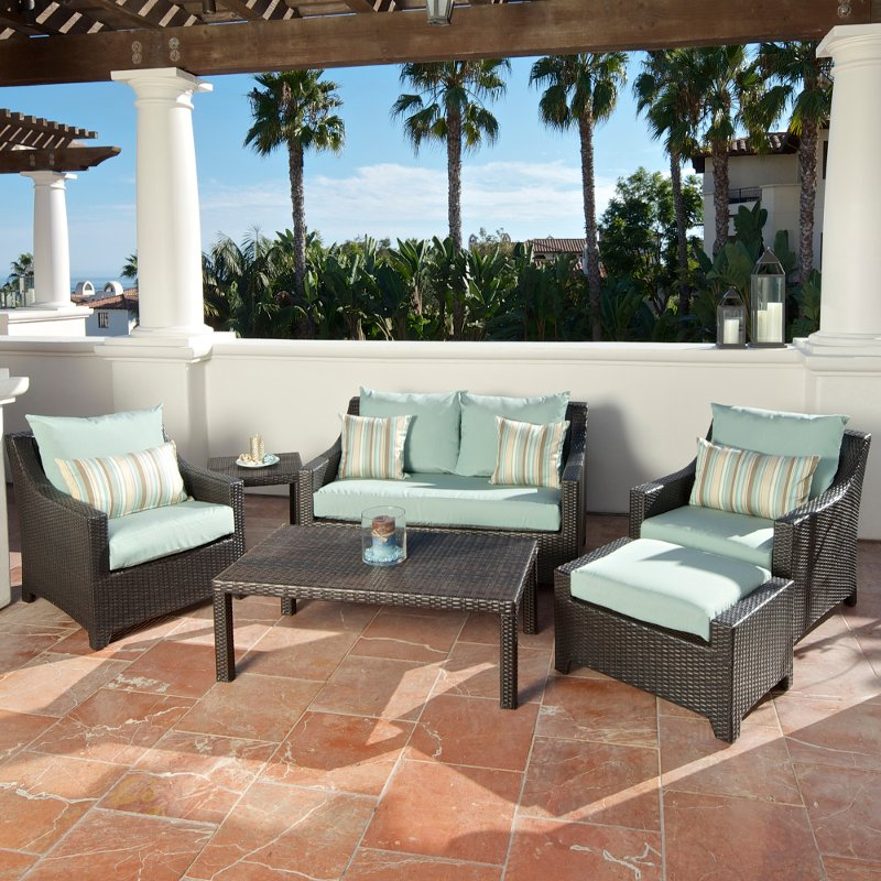 Blue Wicker Loveseat Amp Chairs Set Bliss Rc Willey