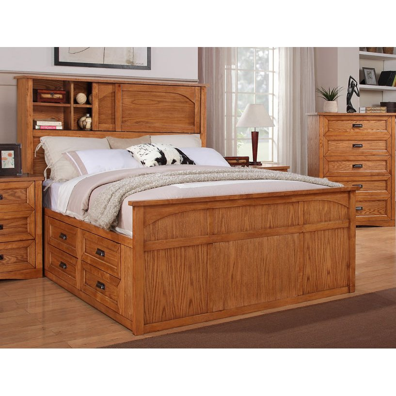 18 King Size Bed With Bookcase Headboard Furniture