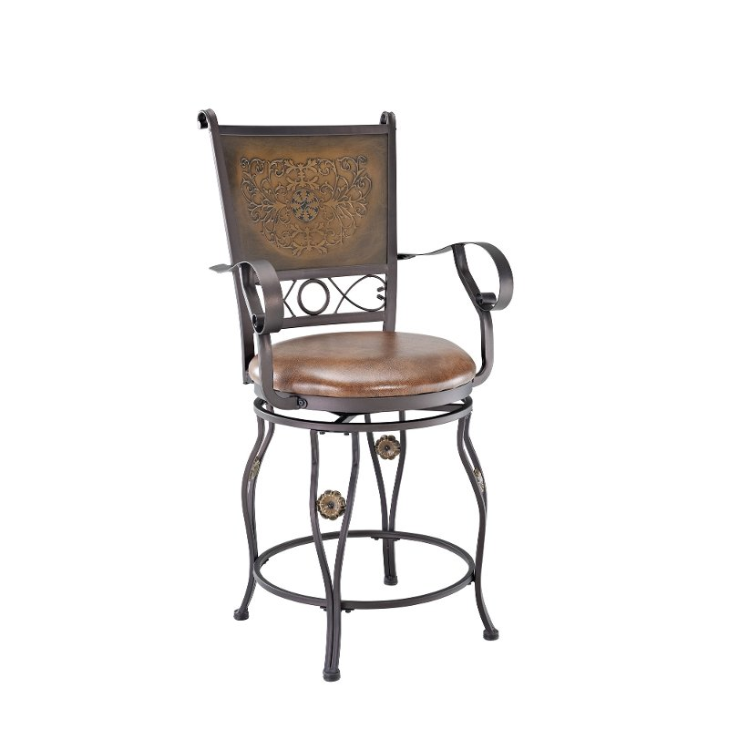 24 Inch Bronze And Copper Counter Height Stool Big