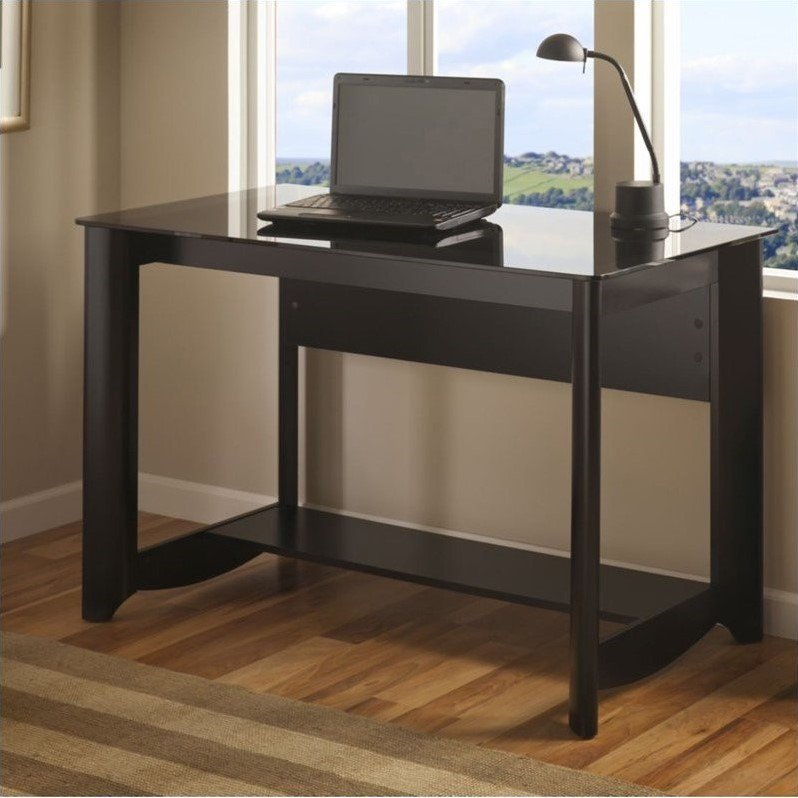 Glass top writing desk Computer Desk Rc Willey Black Glass Top Writing Desk Aero Rc Willey Furniture Store