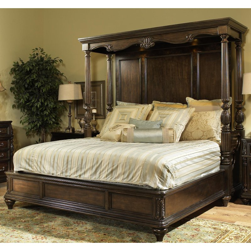 chateau marmont pecan brown cal king canopy bed
