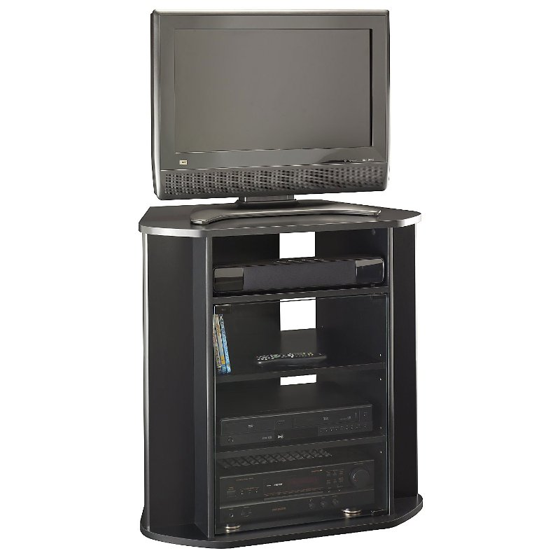 Sleek Black Tall 30 Inch Corner Tv Stand Visions