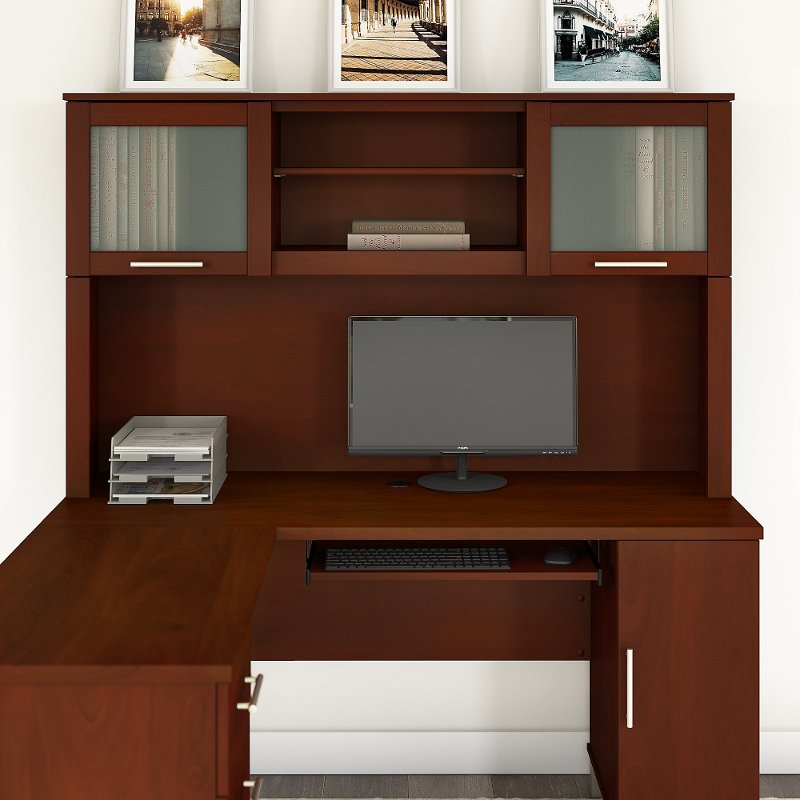 Hansen Cherry L Shaped Desk Hutch (60 Inch)   Somerset