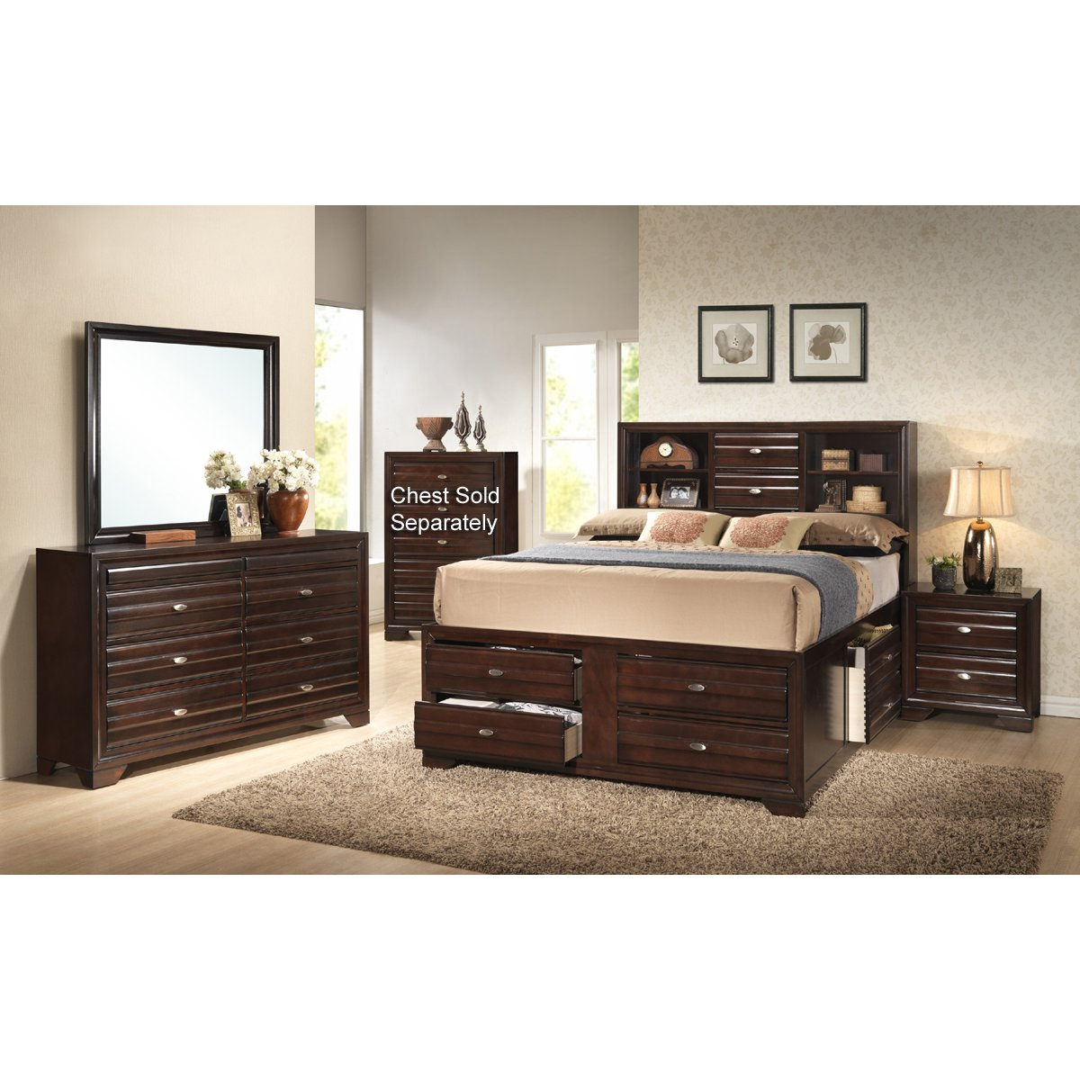 Stella 7 piece queen bedroom set rcwilley image1 for Bedroom furniture queen