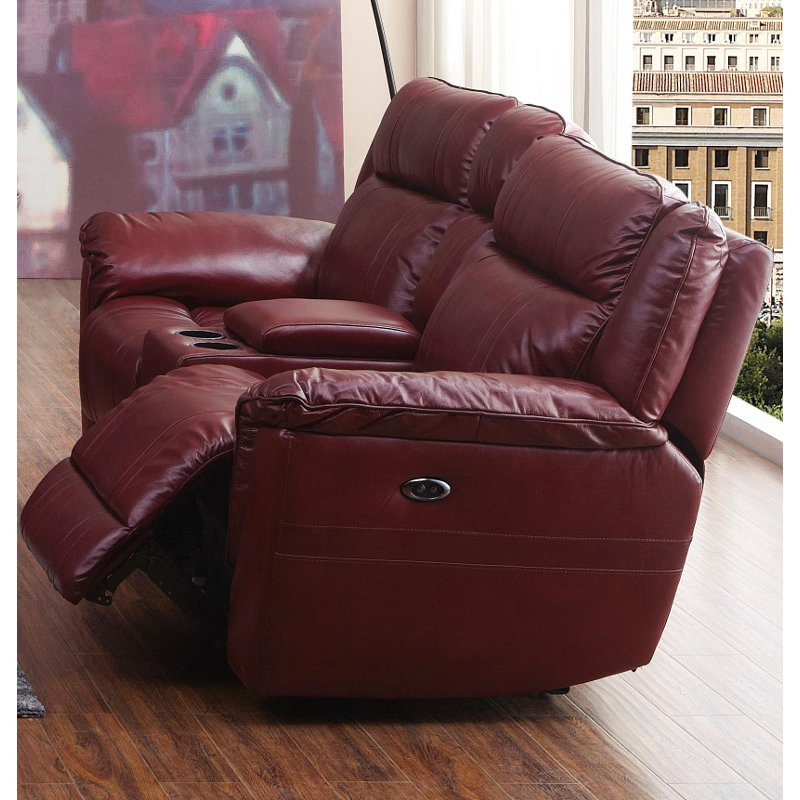Red Leather Match Manual Dual Reclining Loveseat K Motion Rc