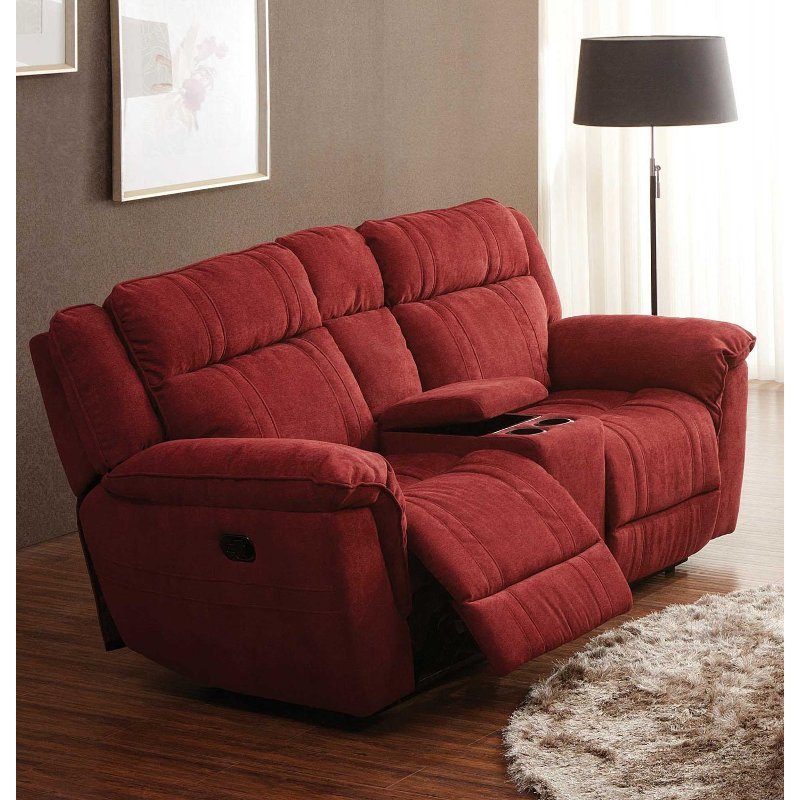 Cranberry Microfiber Dual Reclining Loveseat K Motion