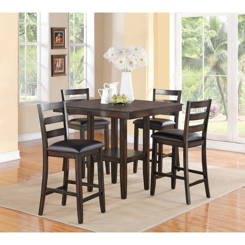 Dining Room Chair Height: Brown 5 Piece Counter Height Dining Set - Tahoe
