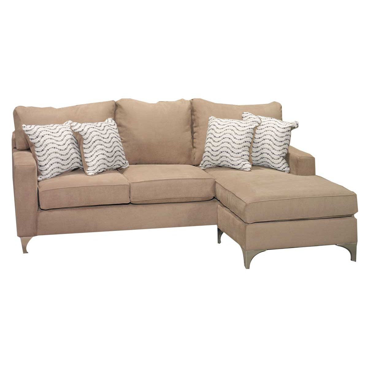 Tessa 90 cappuccino brown upholstered sofa chaise for Brown chaise sofa