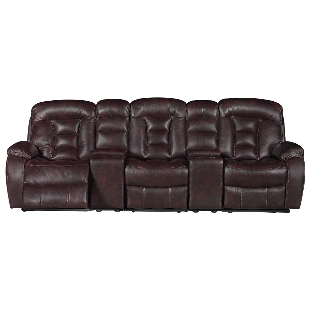 Daniel brown upholstered 5 piece power reclining theater for 5 piece reclining sectional sofa