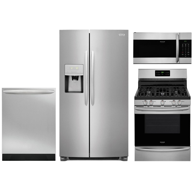 Frigidaire Gallery 4 Piece Kitchen Appliance Package with Gas Range ...