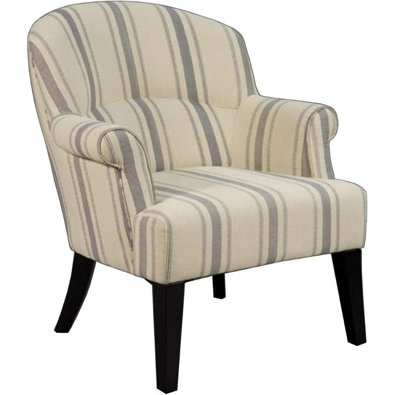 Casual Traditional Linen Striped Accent Chair Leo