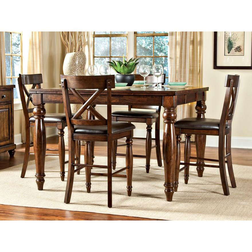 Kingston raisin 5 piece counter height dining set for Counter height dining set