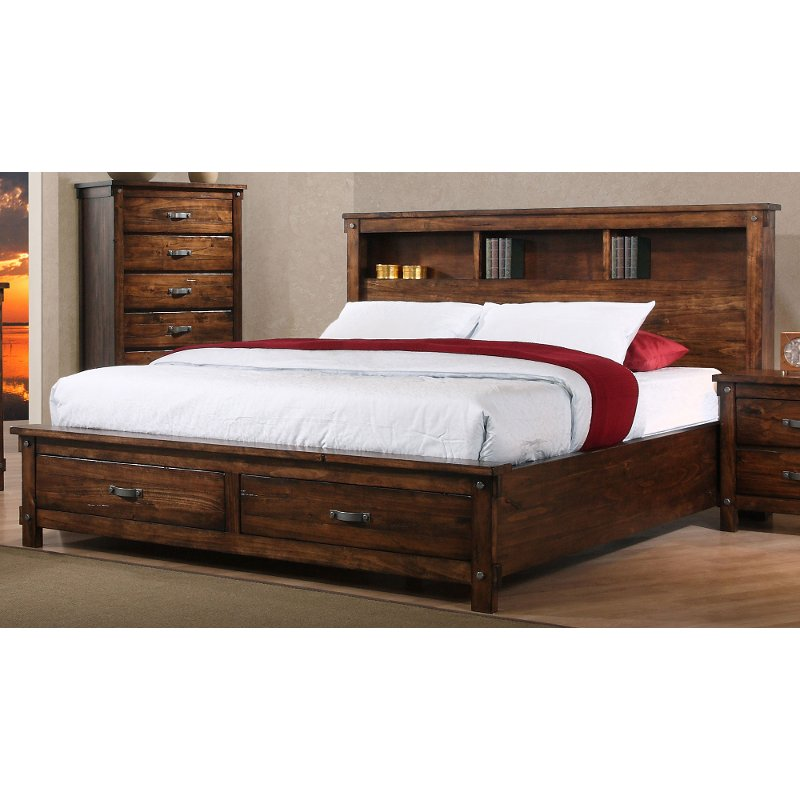 Willey Furniture: Rustic Brown King Size Storage Bed - Jessie