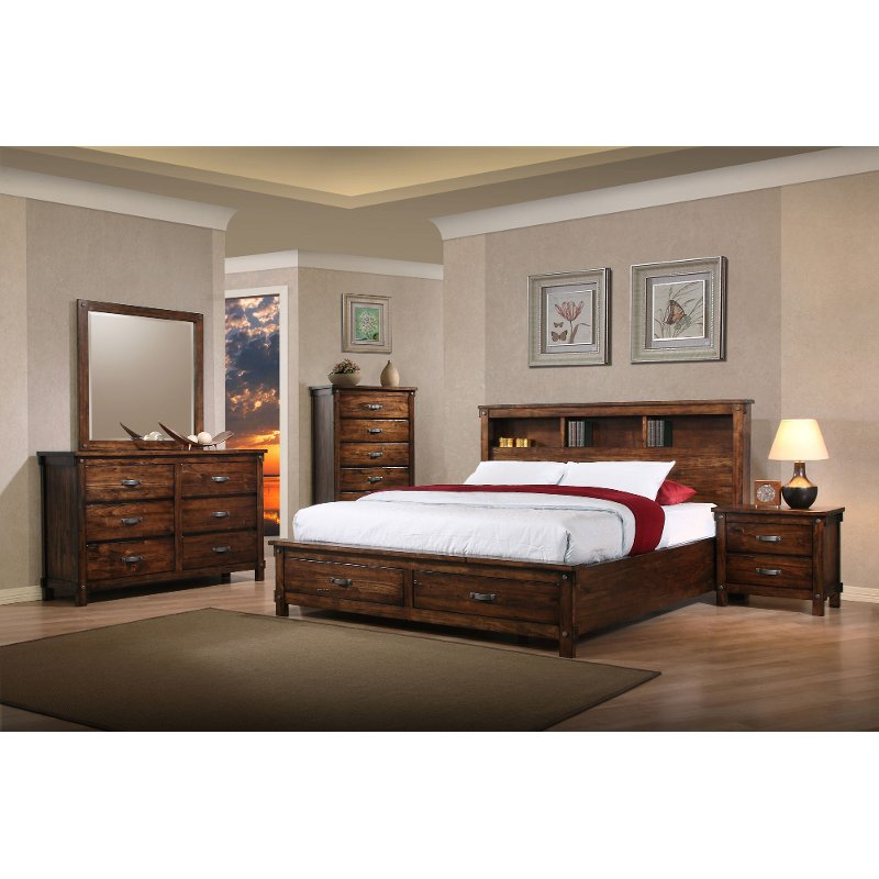 queen bedroom set Rustic Classic Brown 4 Piece Queen Bedroom Set - Jessie | RC Willey  Furniture Store