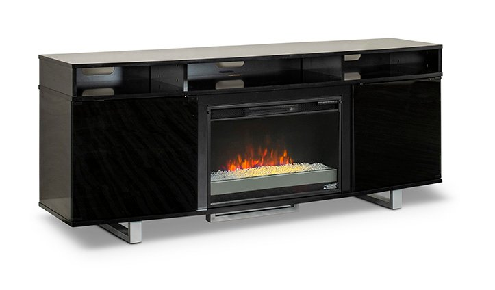 6-Piece Black Entertainment Center With Working Fireplace
