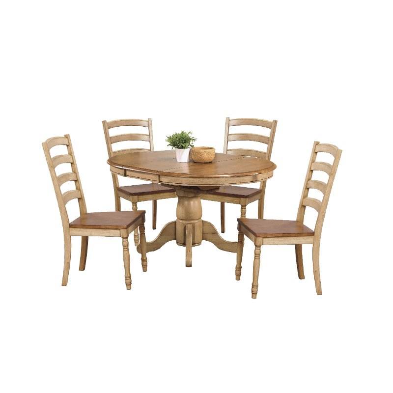 Pleasant Almond And Wheat 5 Piece Dining Set With Ladder Back Chairs Quails Run Beutiful Home Inspiration Cosmmahrainfo