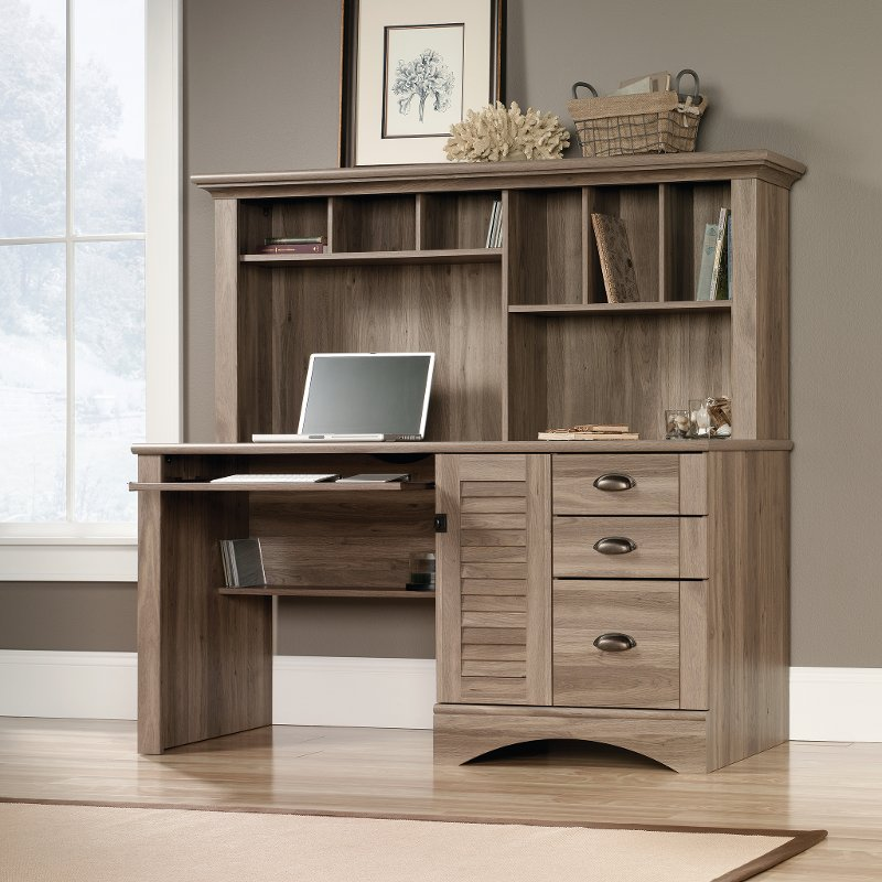 Sleek Modern Brown Computer Desk With Hutch Harbor View