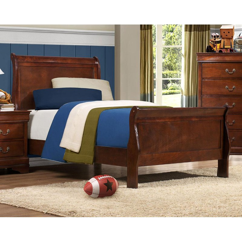 Mayville Brown Cherry Tradtiional Twin Sleigh Bed