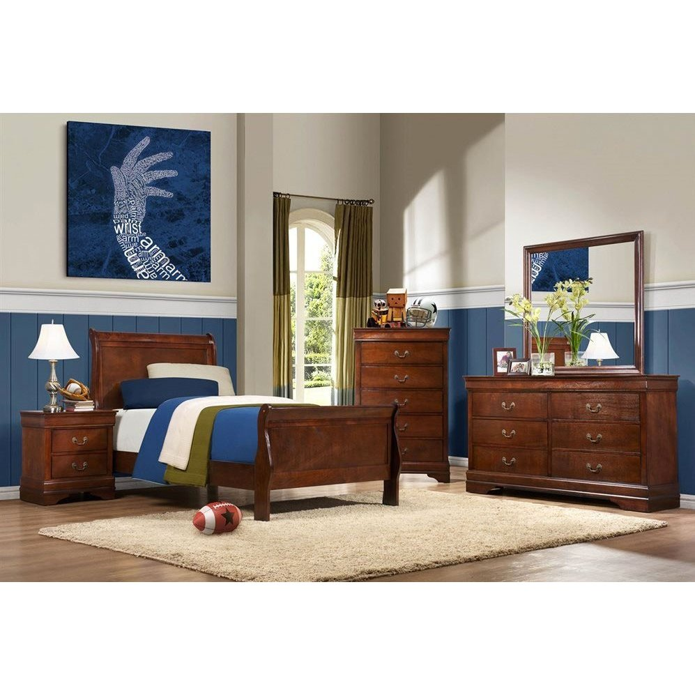 Traditional Brown Cherry 4 Piece Twin Bedroom Set   Mayville