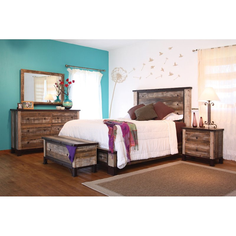 Rustic Contemporary 4 Piece California King Bedroom Set - Antique