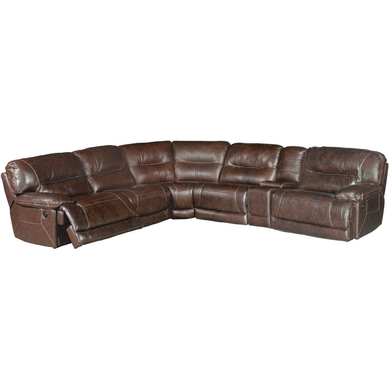 Dylan Dark Brown Leather Match 6 Piece Sectional