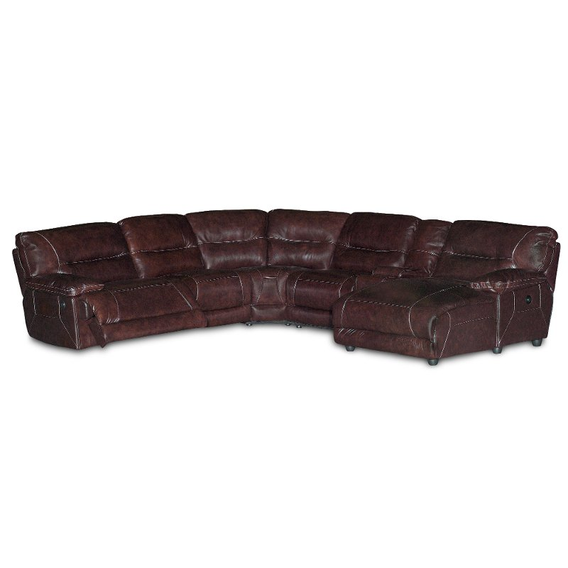 Dark brown leather 6 piece right chaise sectional for Brown leather chaise