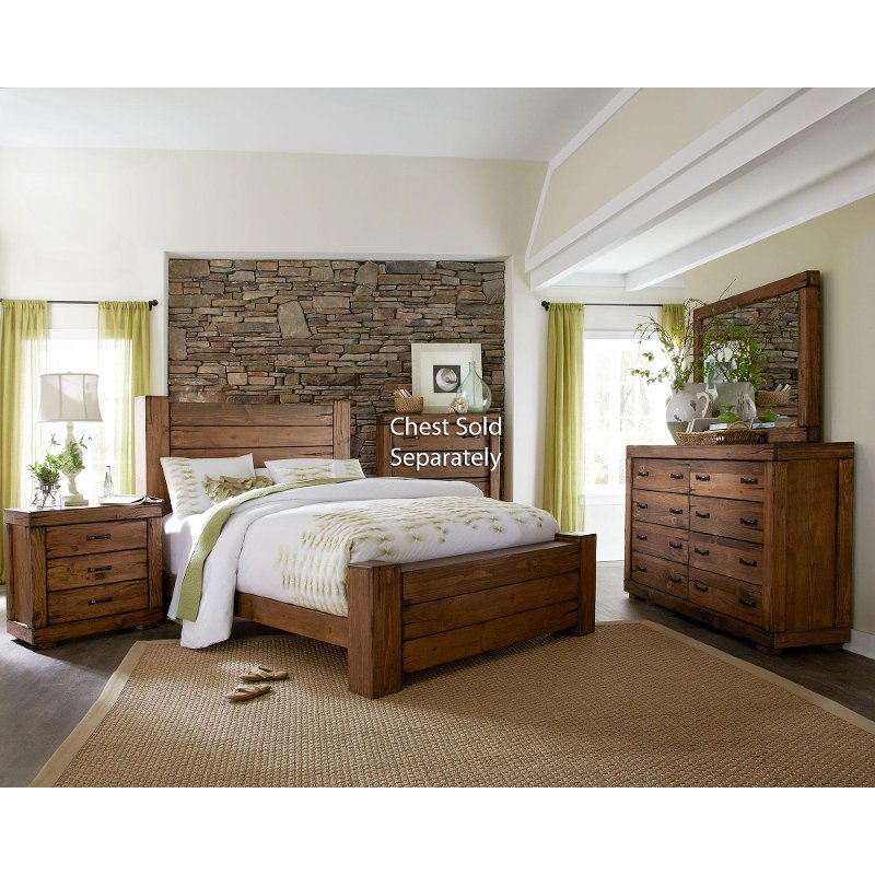 Bedroom Furniture Sets Online: Driftwood Pine 6 Piece Queen Bedroom Set - Maverick
