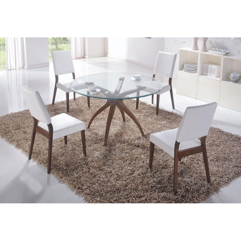 denmark 5 piece glass dining room set