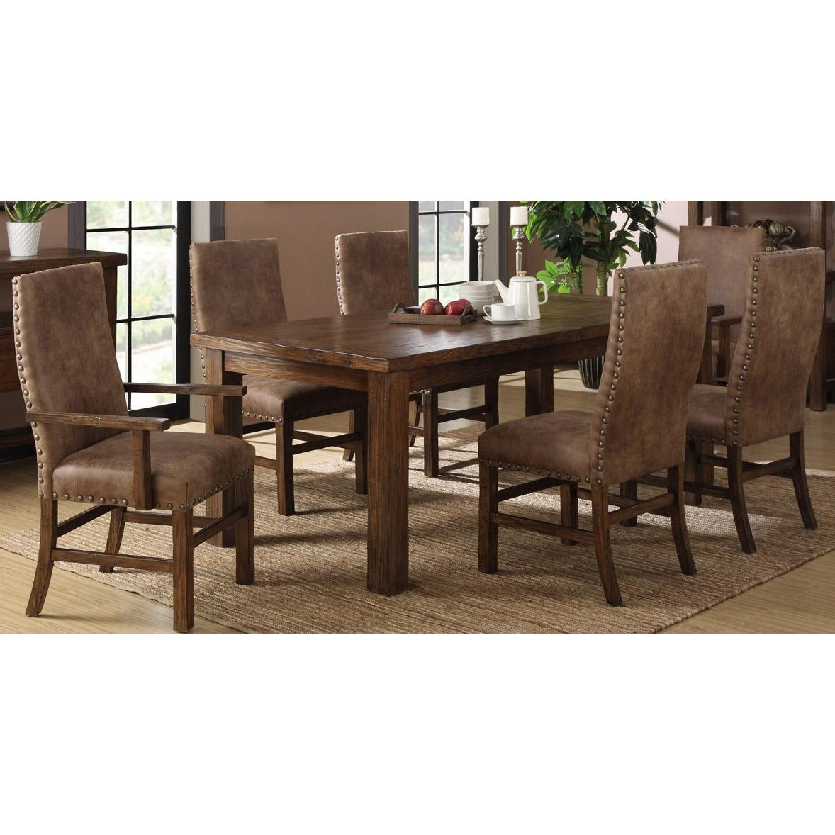 Brown 9 Piece Dining Room Set with Upholstered Chairs   Chambers Creek