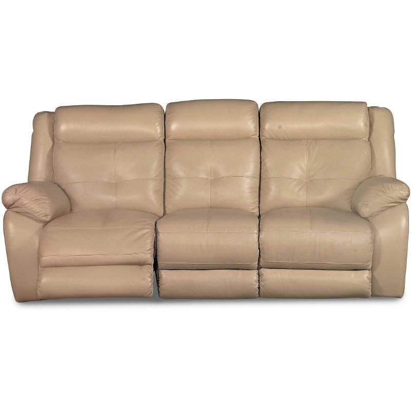 87 Tan Leather Match Power Motion Sofa Rcwilley Image1
