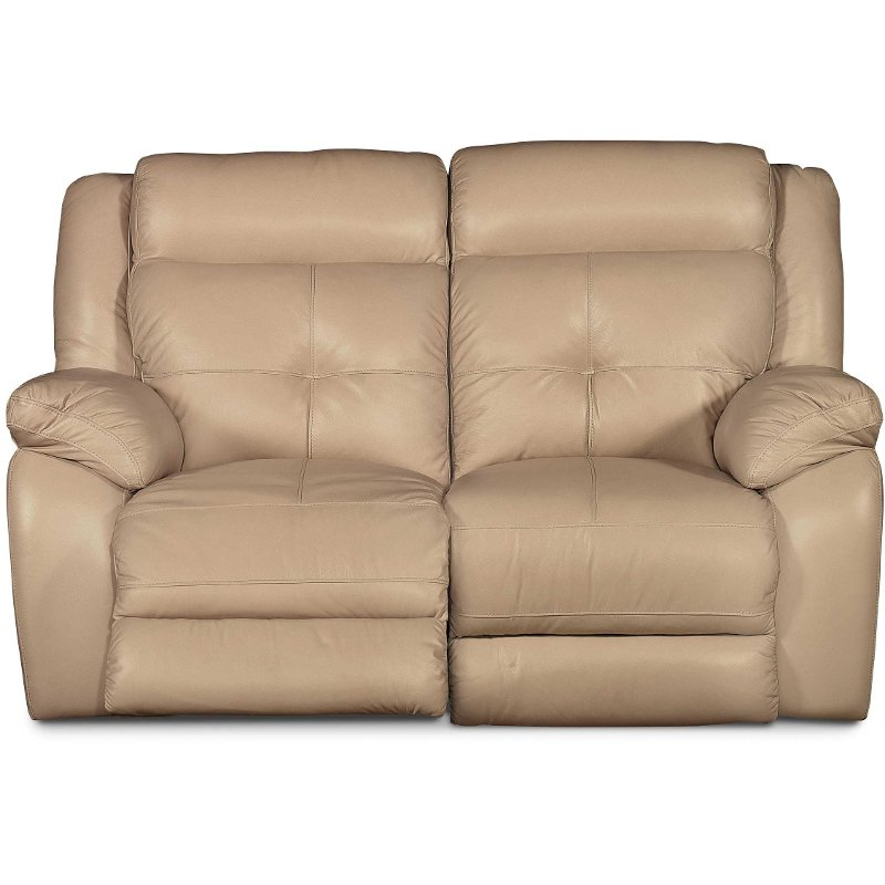 77 Tan Leather Match Power Glider Loveseat