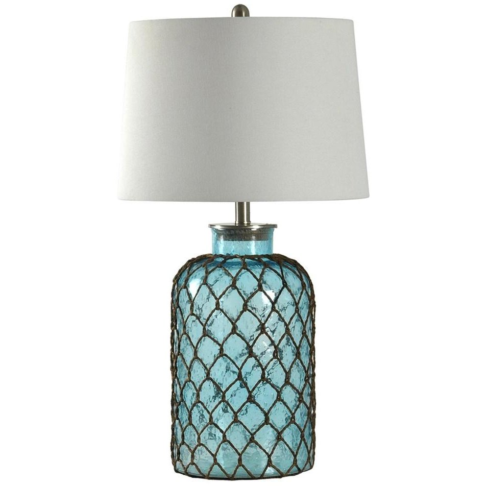 Blue Seeded Glass Table Lamp With Netting Rc Willey Furniture Store