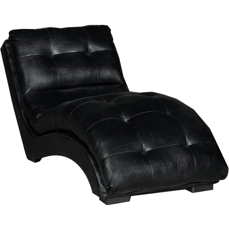 kadyn 68 black leather chaise