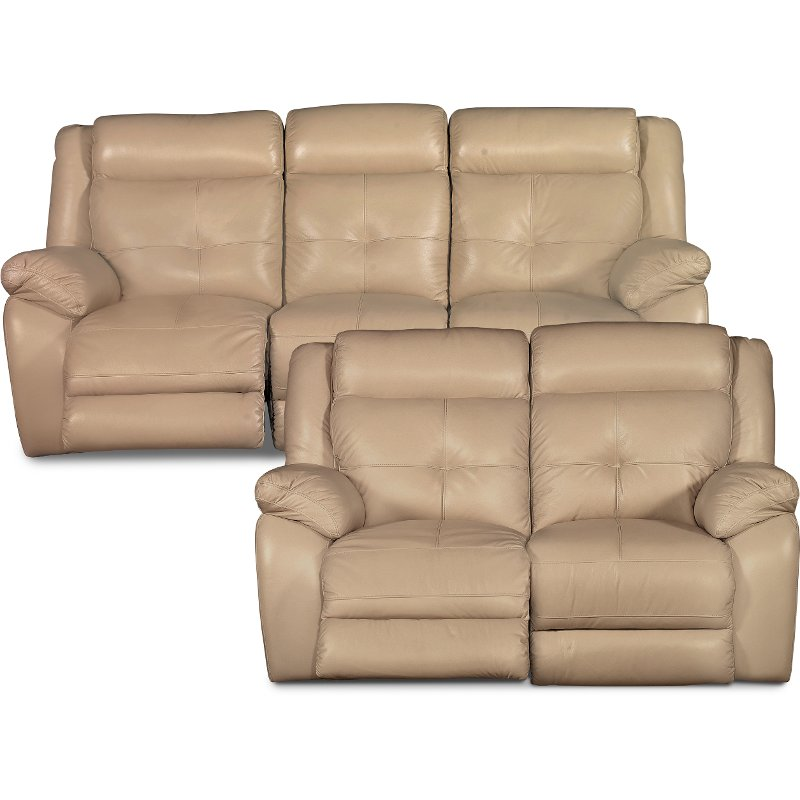 Tan Leather Match Power Motion Sofa Loveseat