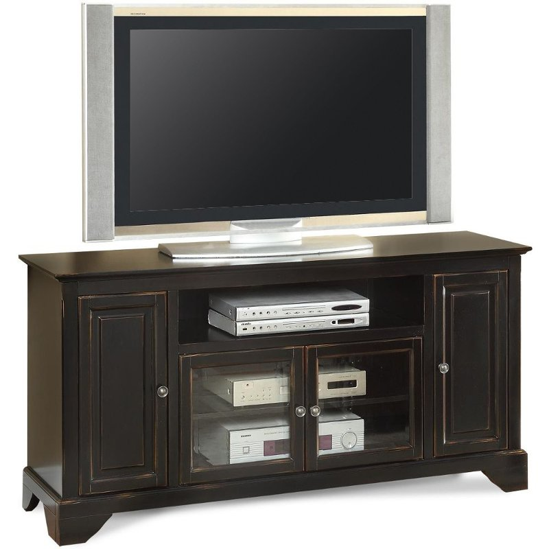 60 Inch Distressed Black Tv Stand River City Rc Willey Furniture