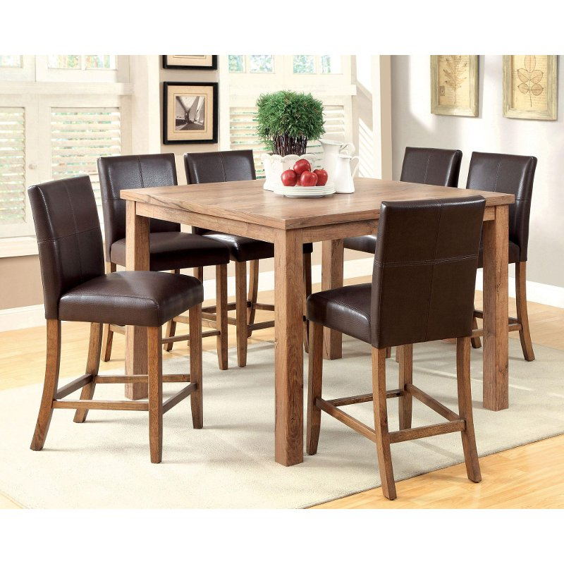 Counter Height Rustic Dining Sets : Rustic Oak 5-Piece Counter Height Dining Set