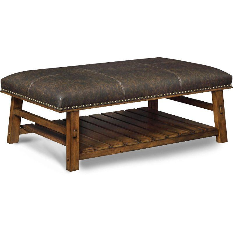 Brown Faux Leather Accent Bench